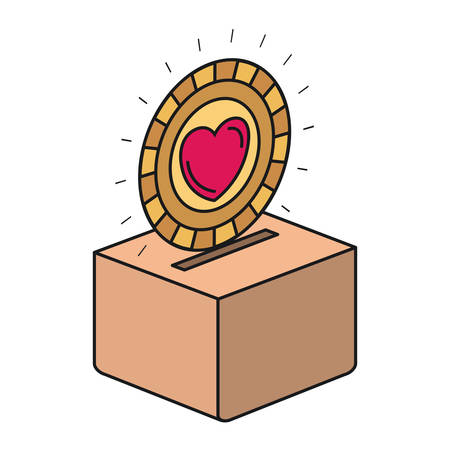 colorful silhouette flat coin with heart symbol inside depositing in a carton box vector illustration Illustration