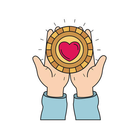 colorful silhouette front view of hands holding in palms a coin with heart shape inside vector illustration