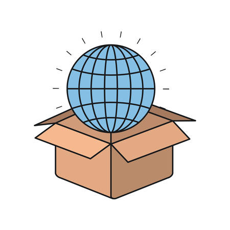 colorful silhouette closeup globe earth world chart coming out of cardboard box vector illustration