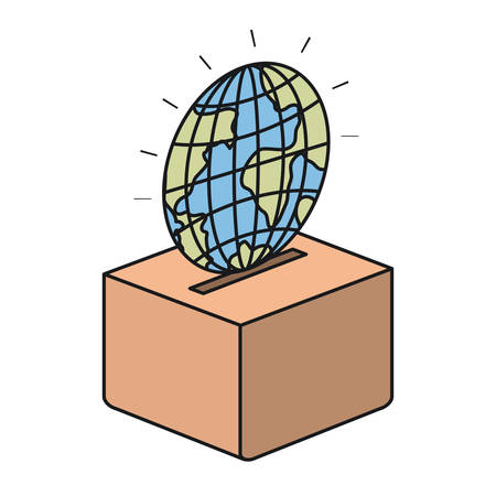 philanthropist: colorful silhouette flat globe earth world depositing in a carton box vector illustration Illustration