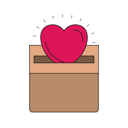 colorful silhouette front view flat heart depositing in a carton box vector illustration