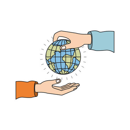 colorful silhouette side view of palm human holding a earth globe world charity symbol to deposit in other hand vector illustration