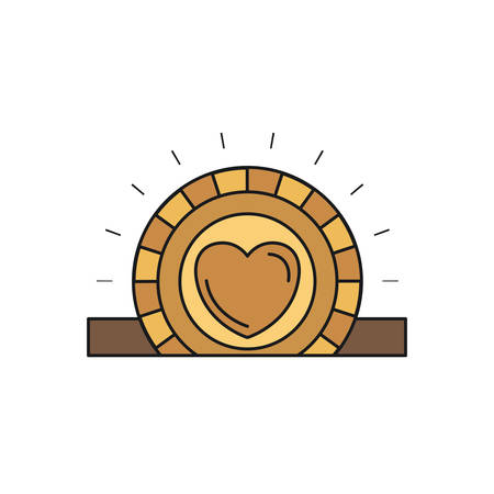 give: colorful silhouette closeup flat golden coin with heart symbol inside depositing in rectangular slot vector illustration Illustration