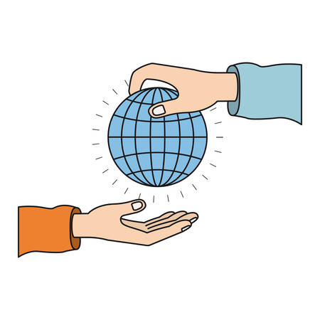 colorful silhouette side view of palm human holding a globe chart to deposit in other hand vector illustration Illustration