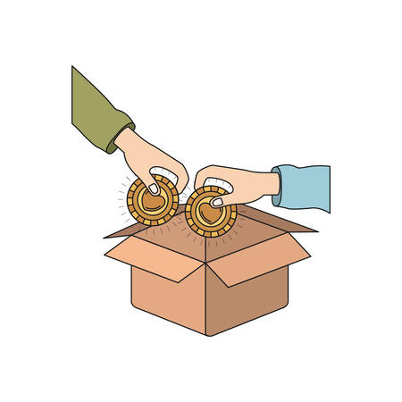 colorful silhouette side view of pair hands holding a coins with heart shape inside to deposit in cardboard box vector illustration