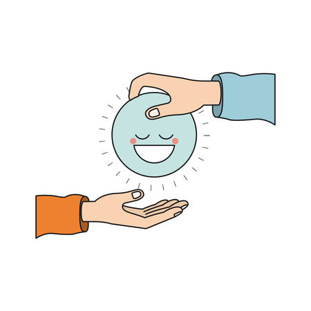 philanthropist: colorful silhouette side view of palm human holding a blue happy face symbol to deposit in other hand vector illustration