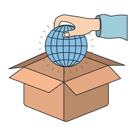 hand holding globe: colorful silhouette hand holding a globe earth world chart to deposit in cardboard box vector illustration