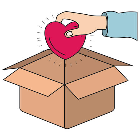 give: colorful silhouette hand holding a heart to deposit in cardboard box vector illustration
