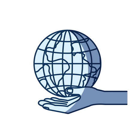 give: blue color silhouette shading of hand palm giving a earth globe world charity symbol vector illustration