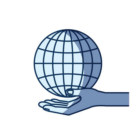 give: blue color silhouette shading of hand palm giving a globe chart charity symbol vector illustration Illustration