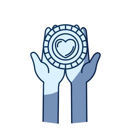 blue color silhouette shading of front view hands holding in palms a coin with heart shape inside charity symbol vector illustration