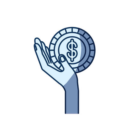 philanthropist: blue color silhouette shading of side view hand holding in palm a coin with dollar symbol inside vector illustration