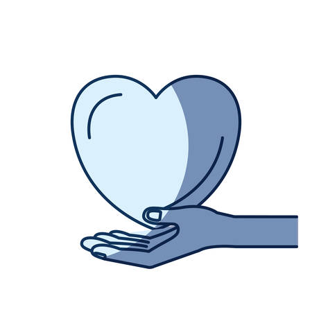 blue color silhouette shading of hand palm giving a heart charity symbol vector illustration Illustration
