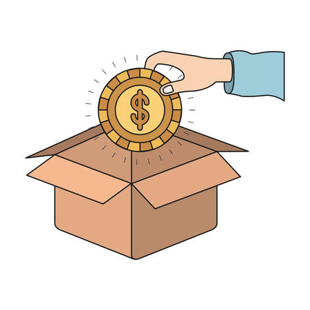 colorful silhouette hand holding a coin with dollar symbol inside to deposit in cardboard box vector illustration