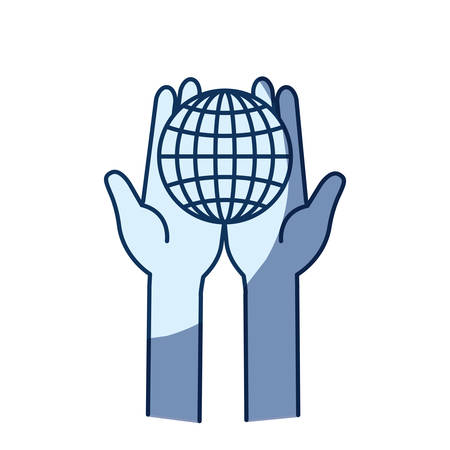 give: blue color silhouette shading of front view of hands holding in palms a globe chart with lines vector illustration