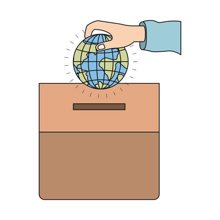 give: colorful silhouette front view hand with flat globe earth world depositing in a carton box vector illustration Illustration