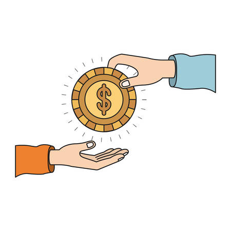colorful silhouette side view of palm human holding a coin with dollar symbol inside to deposit in other hand vector illustration