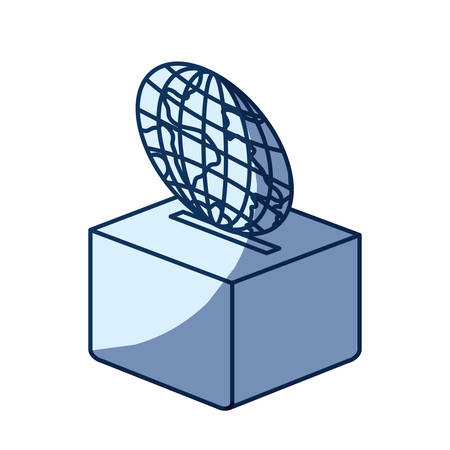 philanthropist: blue color silhouette shading of flat globe earth world depositing in a carton box vector illustration