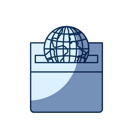 give: blue color silhouette shading of front view flat globe earth world depositing in a carton box vector illustration