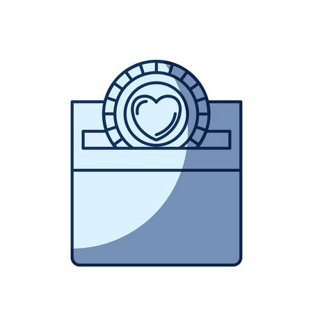 philanthropist: blue color silhouette shading of front view flat coin with heart symbol inside depositing in a carton box vector illustration