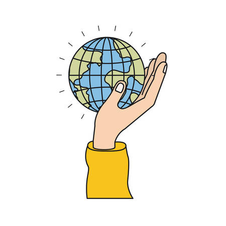 give: colorful silhouette side view of hand holding in palm a earth globe world charity symbol vector illustration