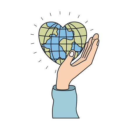 give: colorful silhouette side view of hand holding in palm a earth globe world in heart shape vector illustration