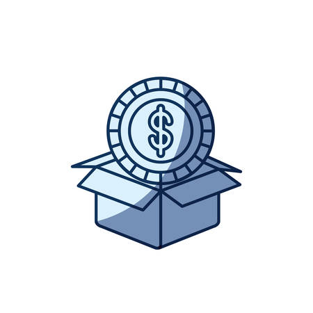 blue color silhouette shading of coin with dollar symbol inside coming out of cardboard box vector illustration Illustration