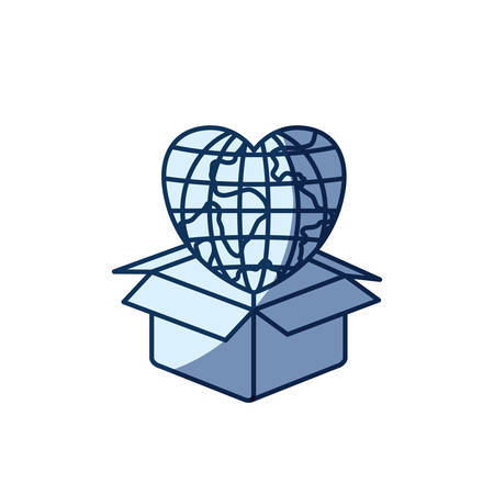 blue color silhouette shading of globe earth world in heart shape coming out of cardboard box vector illustration