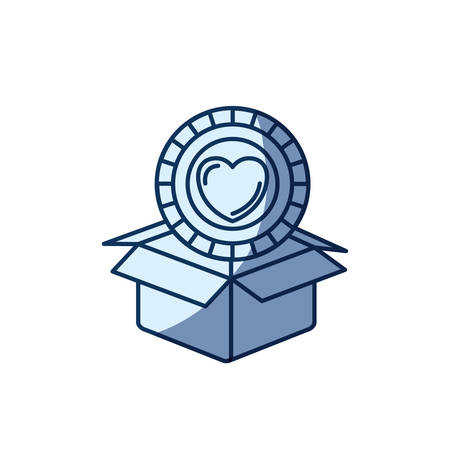 blue color silhouette shading of coin with heart shape inside coming out of cardboard box vector illustration Illustration