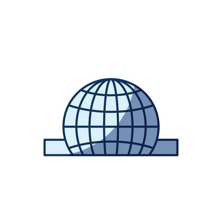 philanthropist: blue color silhouette shading of closeup flat globe earth world chart depositing in rectangular slot vector illustration