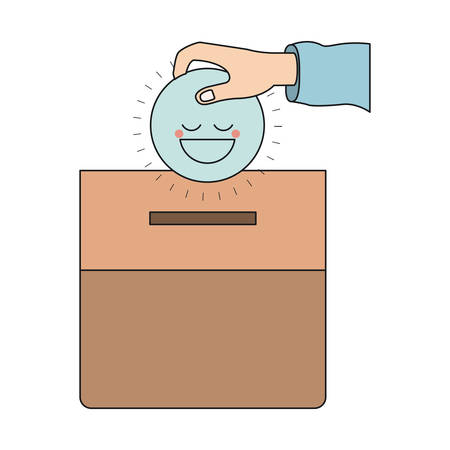 give: colorful silhouette front view hand with flat blue happy face depositing in a carton box vector illustration