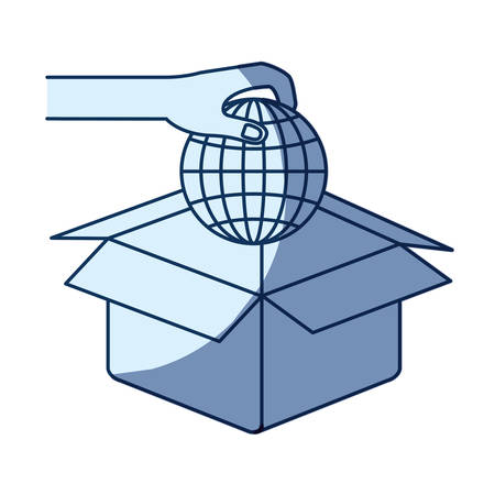 give: blue color silhouette shading of hand holding a globe earth world chart to deposit in cardboard box vector illustration