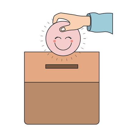 give: colorful silhouette front view hand with flat pink happy face depositing in a carton box vector illustration Illustration