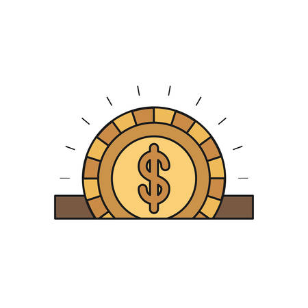 slot in: colorful silhouette closeup flat golden coin with dollar symbol depositing in rectangular slot vector illustration