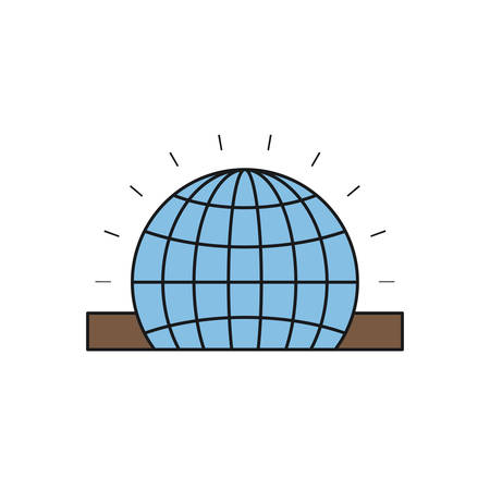 philanthropist: colorful silhouette closeup flat globe earth world chart depositing in rectangular slot vector illustration Illustration