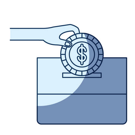give: blue color silhouette shading of front view hand with flat coin with dollar symbol depositing in a carton box vector illustration