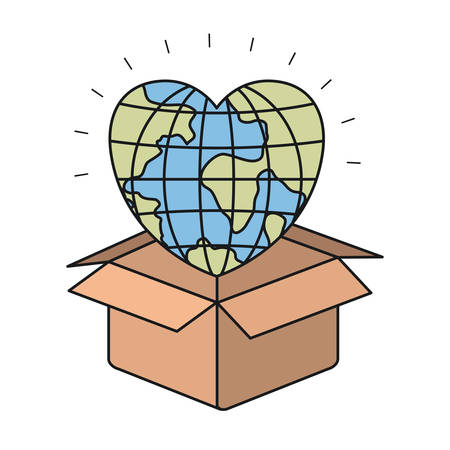colorful silhouette closeup globe earth world in heart shape coming out of cardboard box vector illustration