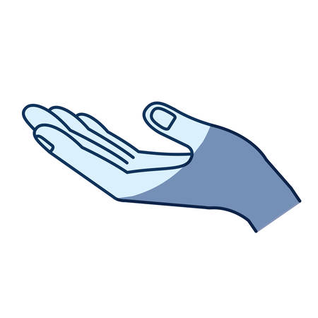 hi five: blue color silhouette shading of opened hand of symbol of receiving vector illustration