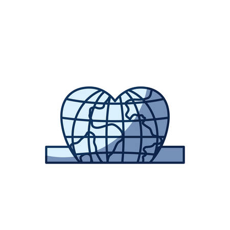 slot in: blue color silhouette shading of closeup flat globe earth world in heart shape depositing in rectangular slot vector illustration Illustration