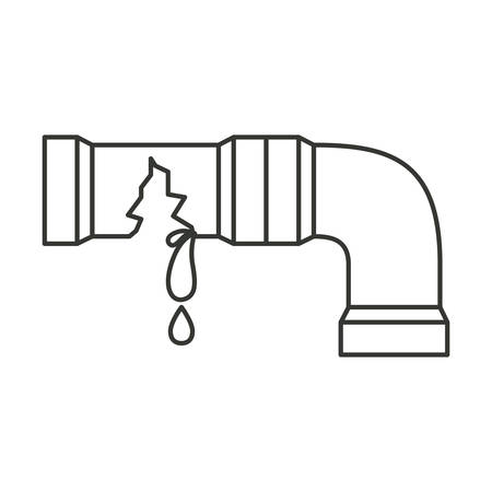 kitchen shower: monochrome silhouette with water pipe broken vector illustration