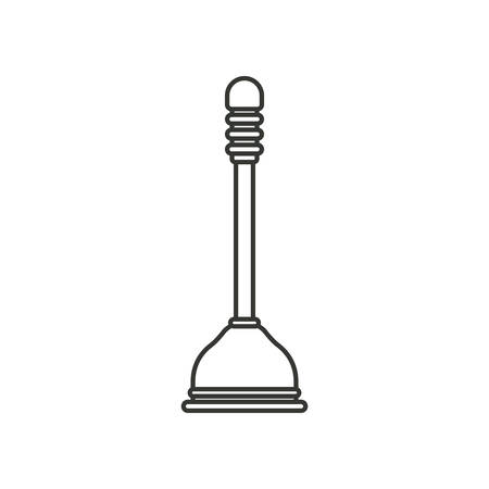 monochrome silhouette of toilet plunger icon vector illustration