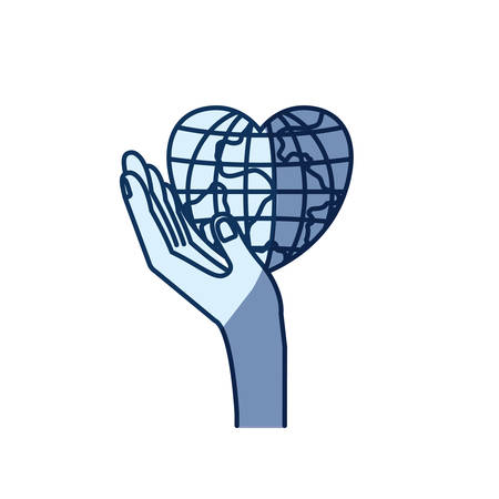 blue color silhouette shading of side view hand holding in palm a earth globe world in heart shape vector illustration
