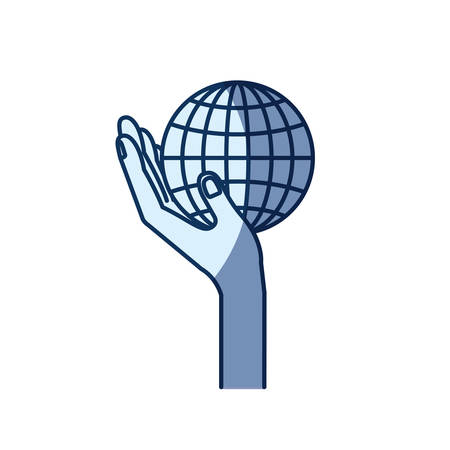 give: blue color silhouette shading of side view hand holding in palm a globe chart vector illustration