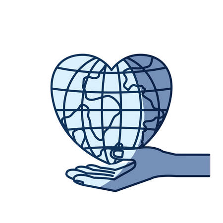 blue color silhouette shading of hand palm giving a earth globe world in heart shape vector illustration Illustration