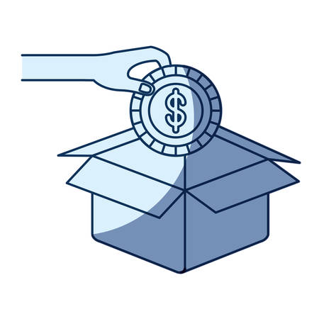 philanthropist: blue color silhouette shading of hand holding a coin with dollar symbol inside to deposit in cardboard box vector illustration