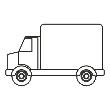 car tire: monochrome silhouette of truck with wagon vector illustration