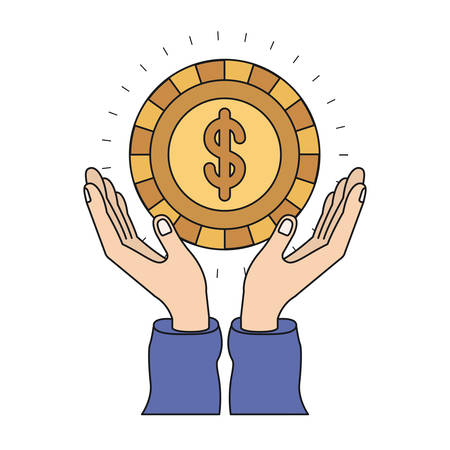 colorful silhouette hands with floating golden coin with dollar symbol inside vector illustration Illustration