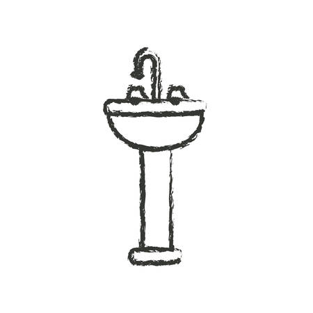 monochrome blurred silhouette of washbasin with pedestal vector illustration