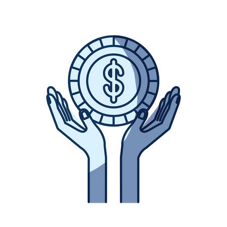 give: blue color silhouette shading of hands with floating coin with dollar symbol inside vector illustration