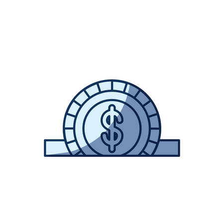 slot in: blue color silhouette shading of closeup flat coin with dollar symbol depositing in rectangular slot vector illustration